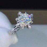 1ct карат муассанит роскошные свадебные кольца для женщин Свадебные 925 пробы серебряные кольца с платиновым покрытием D Цвет VVS1 ясность