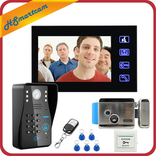 "Touch Key 7"" Video Door Phone Video Intercom System 1 Monitors + RFID Password Access Night vision Doorbell Camera+Electric Lock"