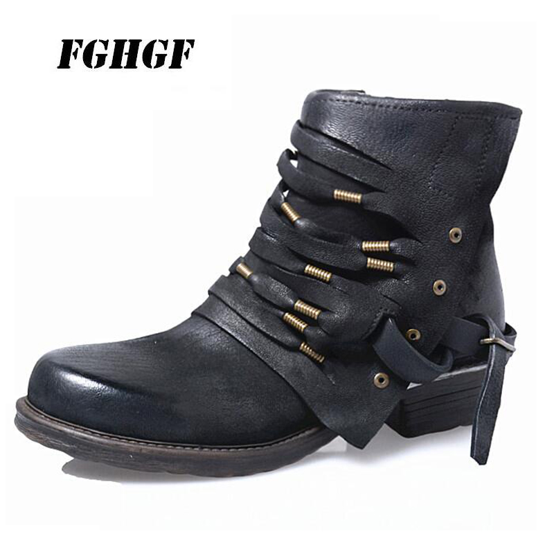 цена на Retro women's boots vintage square head side zipper all leather Martin boots tasseled short boots Super personality Big yards41