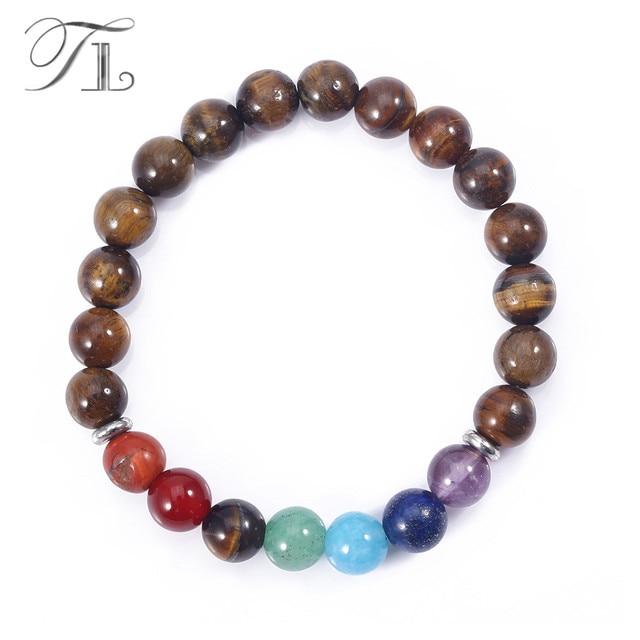 Tl Aa Natural Tiger Eye Seven Chakra Bracelets Handmade High Quality Rainbow Beads Healing Asian