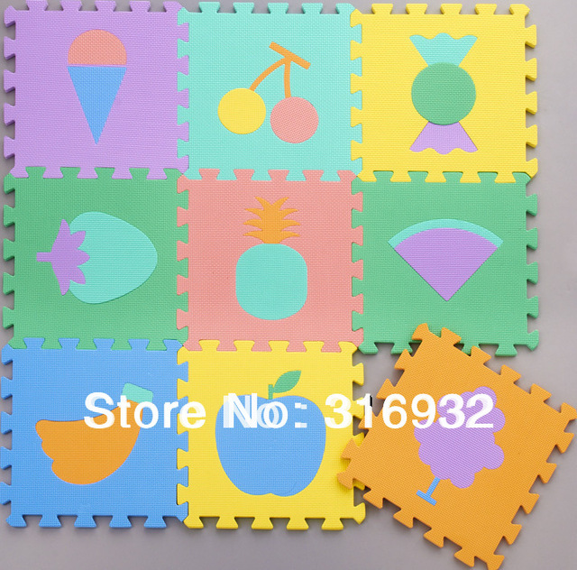 WM018 Baby Floor Mat Children's Environmental Tasteless Eva Foam Mat Eva Mats, pattern: FRUIT, 9 pcs/pack