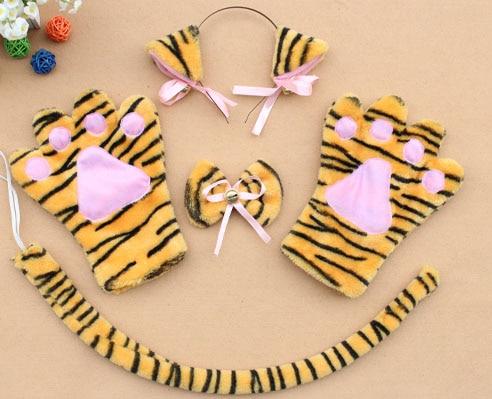 Повязка на голову с ушками neko в виде животных, белого, черного цвета, кота, тигра, аниме, хвоста 60 см, плюшевые перчатки, рождественские, пасхальные, вечерние, для взрослых и детей - Цвет: style 14