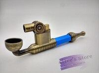 Nieuwe 1 stks Jet Aansteker Winddicht Butaangas Rasta Metalen Wiet Pijp Pijp Roken Pijp Zilver, blauw S/L maat p321