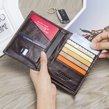 CONTACTS Casual Genuine Leather Male Wallet Photo Holder Passport Card Holder For Travel Passport Purse With Zipper Pocket