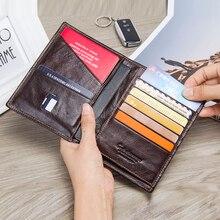 CONTACTS cartera informal de piel auténtica para hombre, portatarjetas para pasaporte de viaje con bolsillo con cremallera