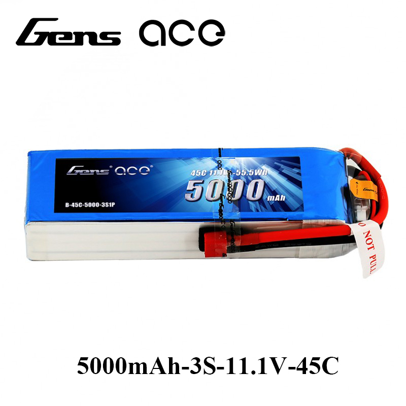 Gens ace Lipo Battery 11.1V 5000mAh Lipo 3S 45C RC Battery Pack Deans Plug for MIKADO LOGO500 ALIGN T-REX550/600 GAUI X5 RC Car gens ace lipo battery 7 4v 11 1v 800mah lipo 2s 3s 15c rc quadcopter t connector for fixed wing 250 helicopter jst plug