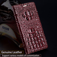 Wangcangli Genuine Leather Flip Case For iPhone 8 X Crocodile Back Texture Phone Cover For iPhone 6 6S 7 Plus Cases