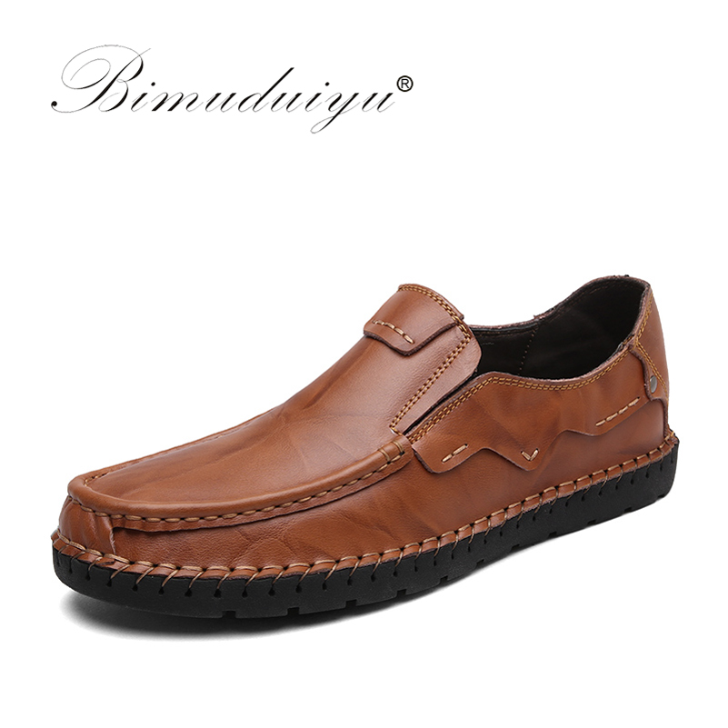 BIMUDUIYU Luxury Brand Mens Loafers Fashion Handmade Moccasins Cow Leather Men Flats Black Shoes Slip-on Casual Shoes For Men mycolen men loafers leather genuine luxury designer slip on mens shoes black italian brand dress loafers moccasins mens