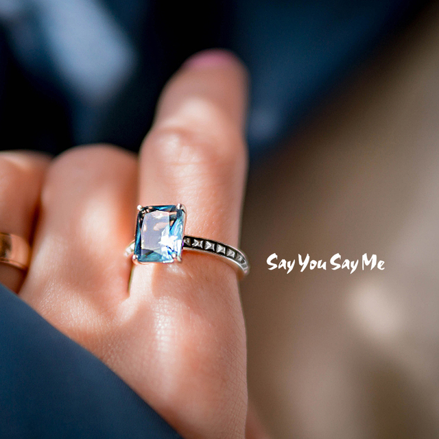 925 Sterling Silver Rings Wholesale Wedding Engagement Party Luxury Blue Stone R