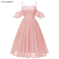 Knee Length Short Bridesmaid Dresses Chiffon 2019 Off Shoulder Lace A Line Maid of Honor Party Gowns vestidos de fiesta de noche