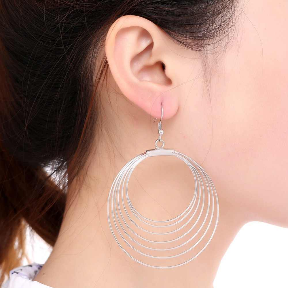 2018 Hot Multilayer Large Big Circle Loop drop Earrings For Women Jewelry Hiphop Jewelry Aros oorbellen boucle d'oreille femme