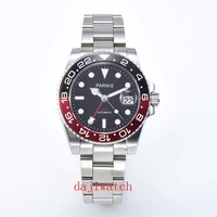 40mm Parnis Mechanical Watches Black Red Ceramic Frame black dial automatic Mens Watch sapphire glass GMT luminous marks