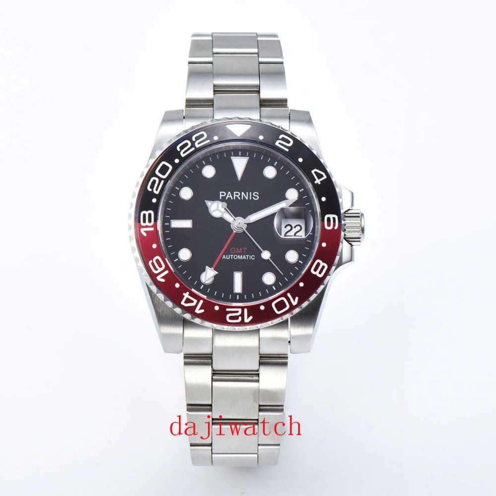 40mm Parnis Mechanical Watches Black Red Ceramic Frame black dial automatic Mens Watch sapphire glass GMT luminous marks image