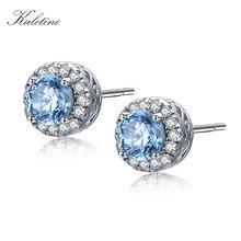 KALETINE Genuine 925 Sterling Silver Stud Earrings For Women Sea Blue CZ Clear Small Earrings Fashion Jewelry 2018 Kpop KLTE001