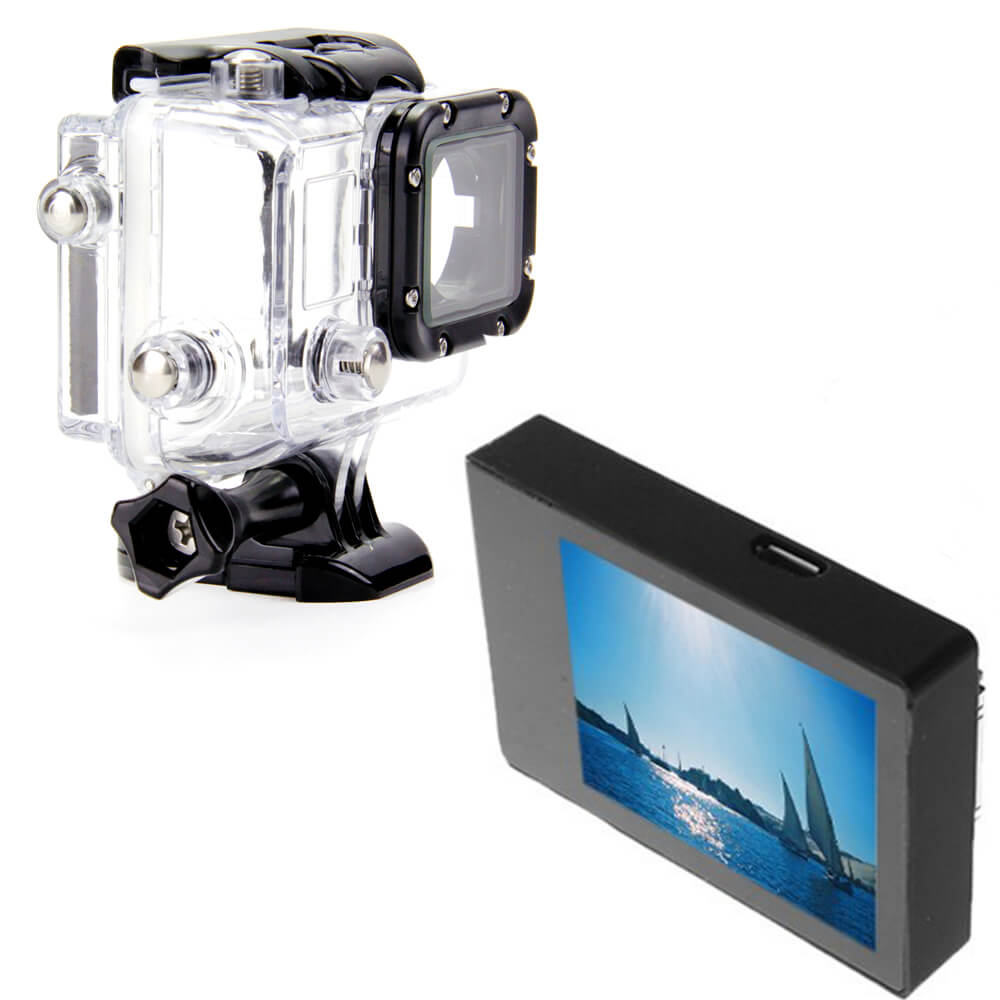 60M Underwater Waterproof LCD Version Housing Case For GoPro+LCD BacPac Display Screen Viewer For GoPro Hero 3/3+/4 Silver/Black цена