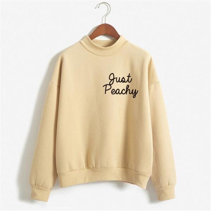 2019 Sweatshirt Winter Women Cute Pink Sweatshirts Women Print Hoody Print Tracksuit Hoodies Just Peachy Crewneck