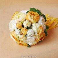 פרחי כלה מחזיקה חתונה אור צהוב פרח בד משי פרחים מלאכותיים מזויף משלוח חינם