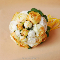 Bride Holding Flowers Wedding Light Yellow Free Shipping Silk Fabric Artificial Flowers Fake Flower