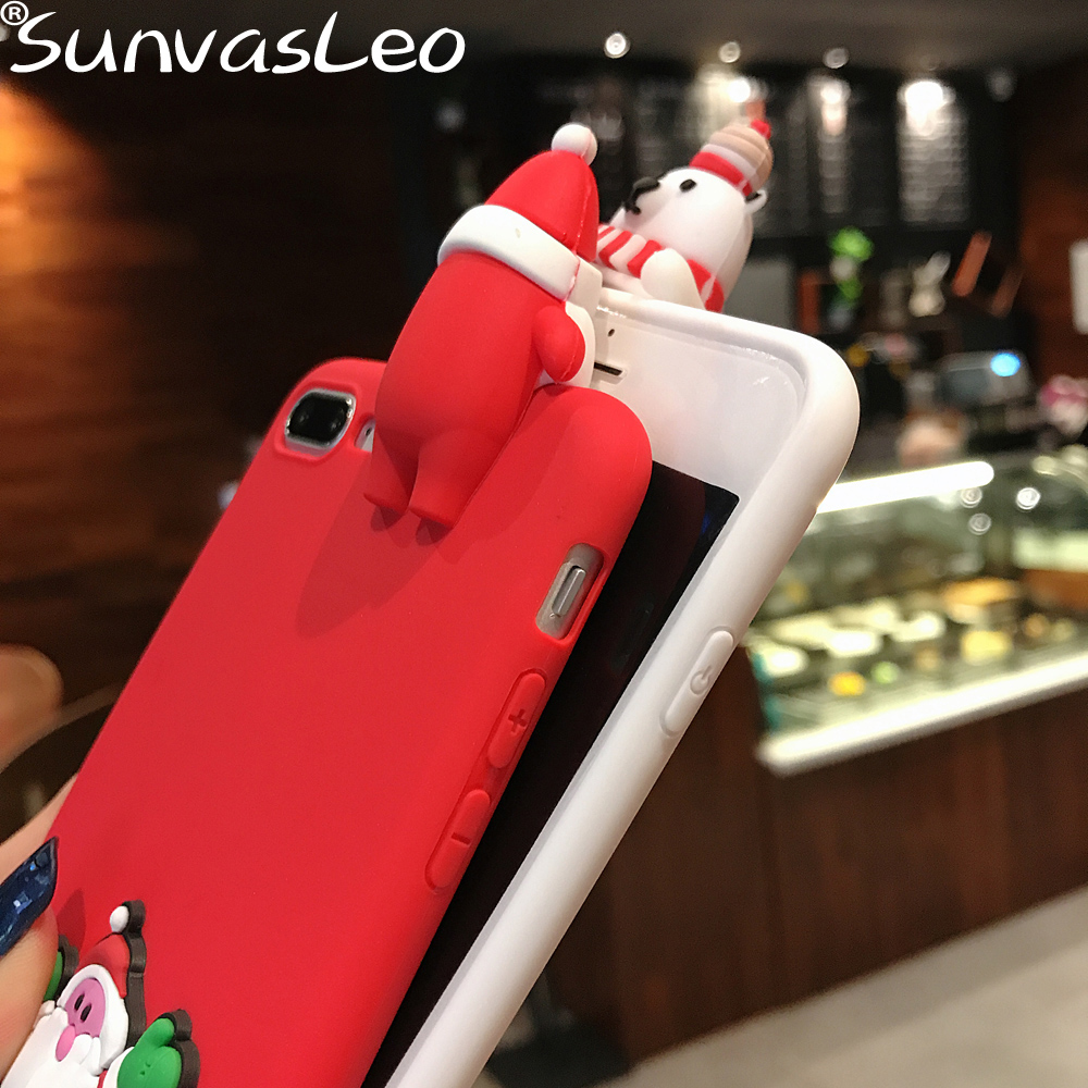 Xmas Snowman Santa 3D Soft Case Phone Cover For iPhone Xs Max XR 5 6 7 X 8 Plus For Huawei P9 P10 P20 Lite Pro Y5 Y6 Y7 Y9 2018 in Fitted Cases from Cellphones Telecommunications