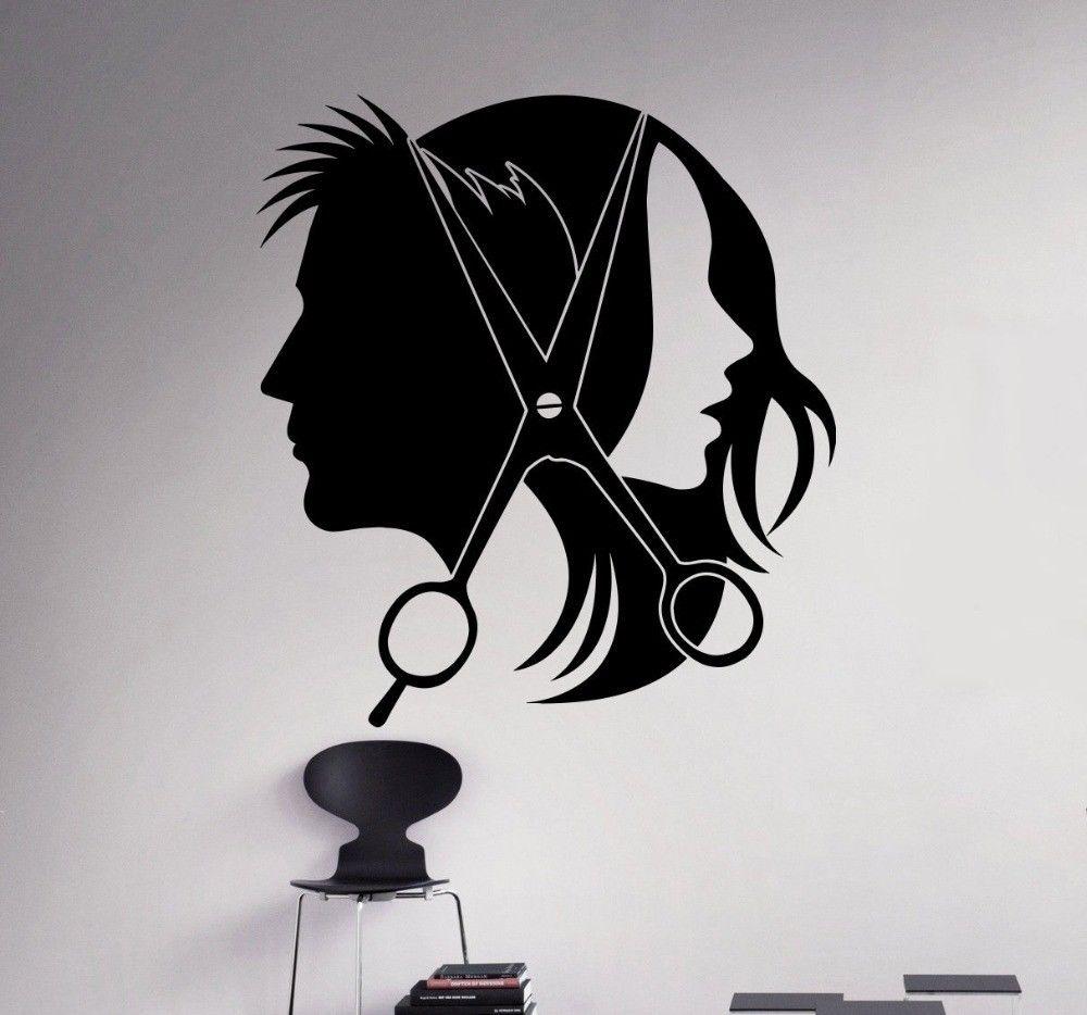 Us 713 28 Offvinyl Sticker Removable Hair Salon Barber Shop Wall Decal Baber Shop Decoration Hair Salon Wallpaper Design Wall Art Mural Ay444 In