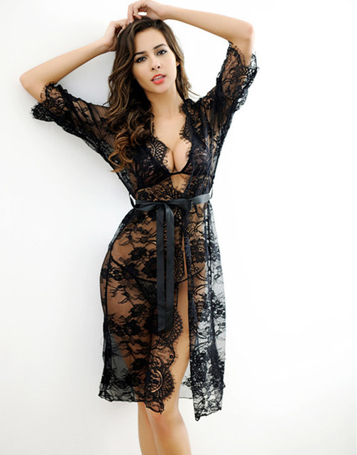 ba05d1ba4d Voplidia Robe Sexy Bathrobe Women 2017 Nightdress New Summer Lace Nightgown  Set Sleepwear Pajamas Pijama Feminino