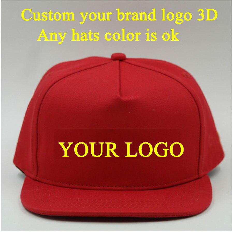 03f1224d1b2e0 5 Caps Peak Square brim Customized Baseball Hat 3D Embroidery LOGO  Snapbacks Hats Hip Hopcap adjustable Adult and Kids. Price