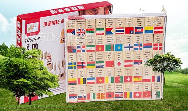100 PCs national flag wooden Dominoes/ Children wood block toys with English Russia multi Language Domino blocks, free shipping dominoes 3 moonstone ne
