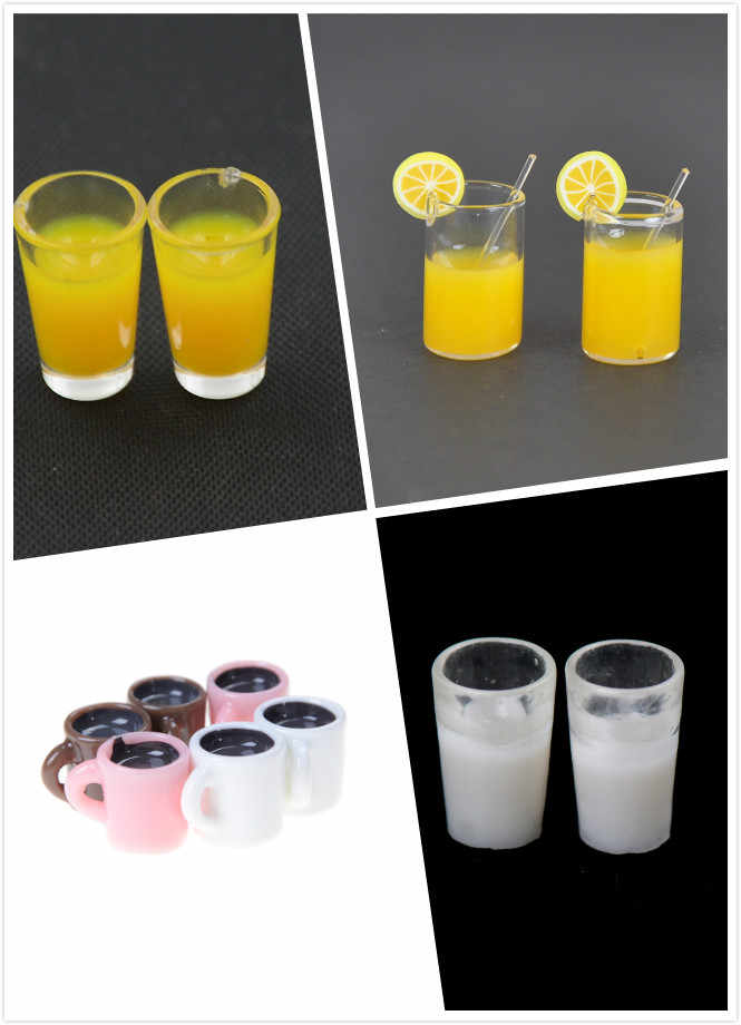 2pcs/4Pcs Dollhouse Mini Resin Mini Lemon Water Cup/Orange Juice/Coffee/Tea Drink Cup Miniature Dollhouse Accessories Cups Toy
