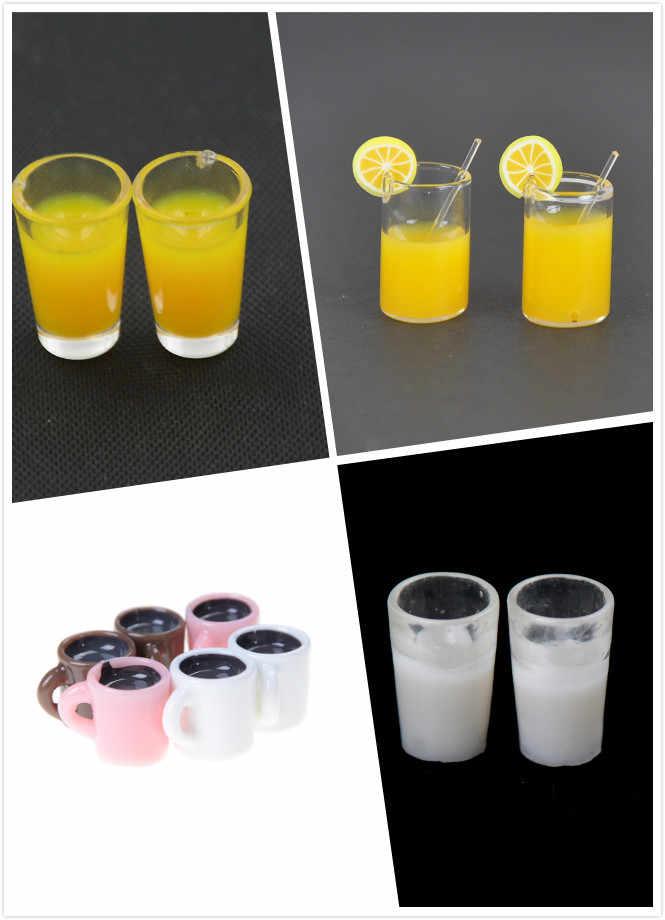 2pcs/4Pcs Dollhouse Mini Resin Mini Lemon Water Cup/Orange Juice/Coffee/Tea Drink Cup Miniature Dollhouse Accessories Cups Toy