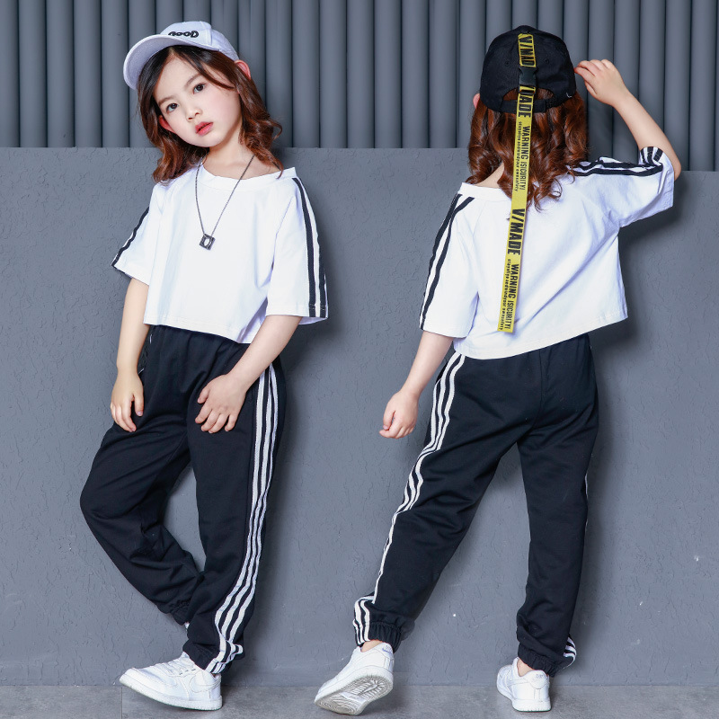 Girls Ballroom Clothing Hip Hop Costume Loose Dance Clothes Kids Loose Jazz Shirts Dancewear Pants Exhibition Suits Dancewear