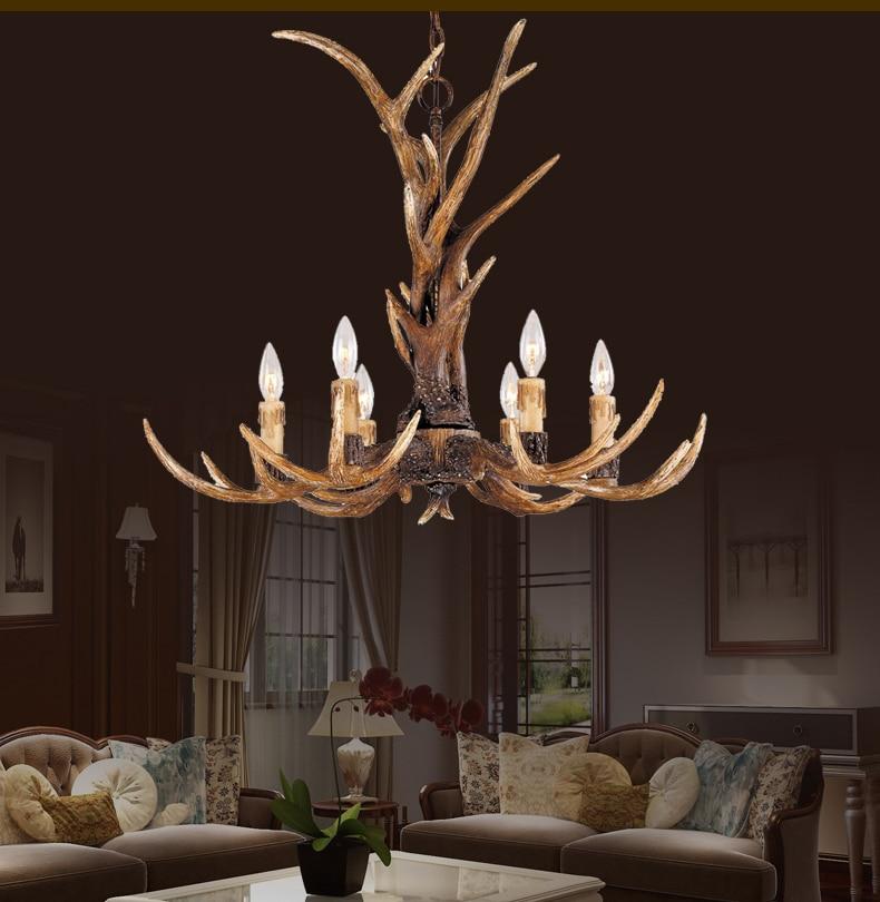 цена на Europe Country 6 Head Candle Antler Chandelier American Retro Resin Deer Horn Lamps Home Decoration Lighting E14 110-240V