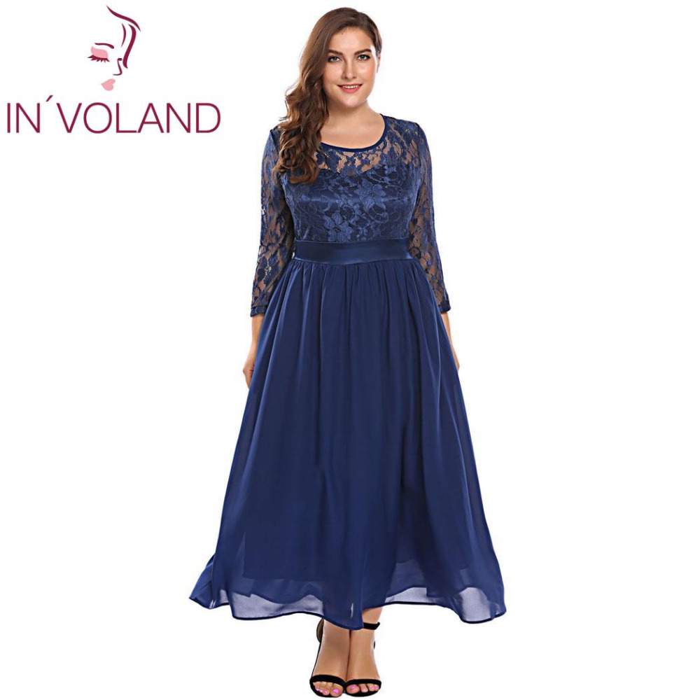 IN'VOLAND Femmes Vintage Dentelle Robe Plus Taille XL-5XL Automne Creux Floral Dentelle 3/4 Manches Parti Swing Maxi Grandes Robes Grand taille