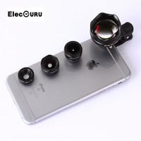 Телефон объектив фотографии 4 в 1 3X HD telelens Full HD Fisheye Широкий формат макро Оптические стёкла универсальный зажим для iPhone 5 /5S 6 S 6 plus