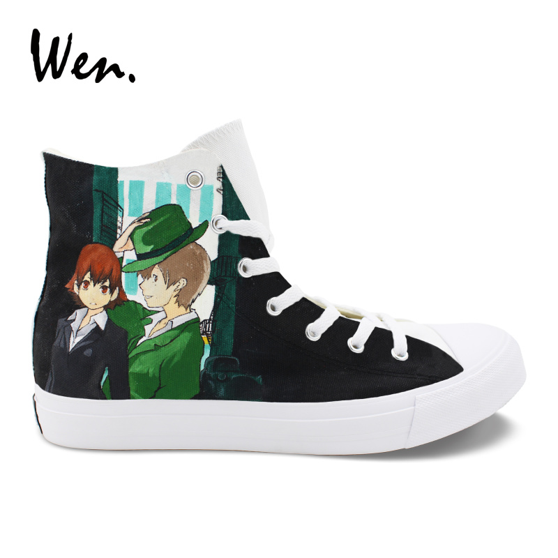 Wen Design Hand Painted Custom Shoes Anime Baccano High Top Men Women Vulcanized Soled Canvas Sneakers Lovers Casual Laced Shoes