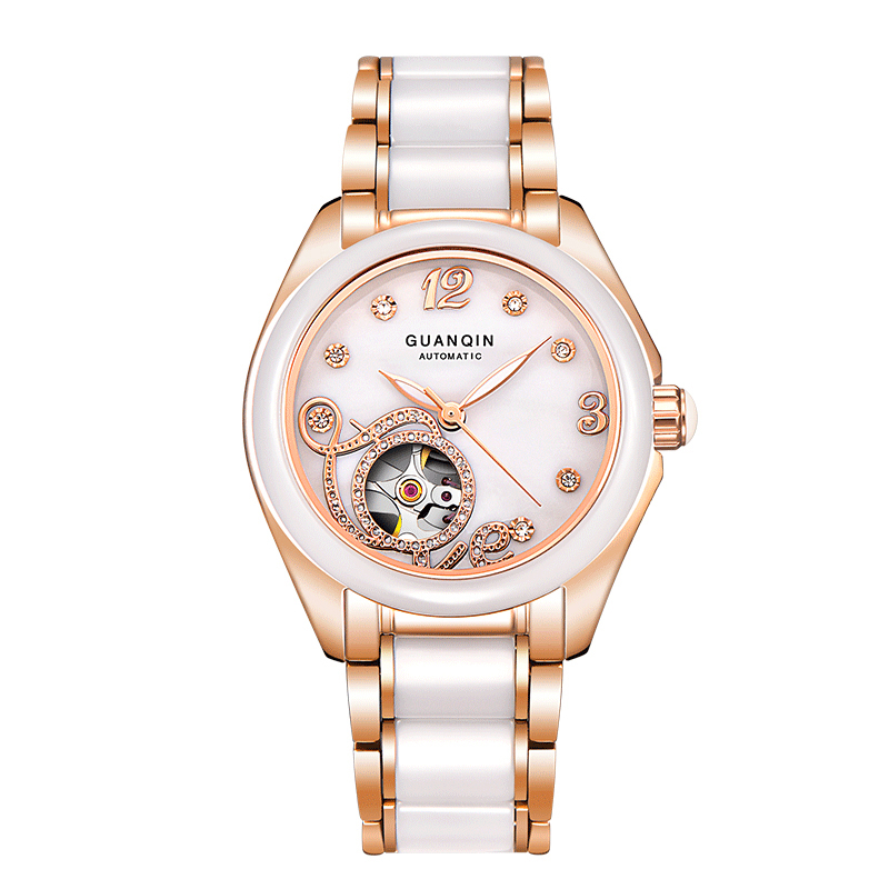 GUANQIN GJ16038 Ceramic Women Watch Automatic Mechanical Watches skeleton Ceramic Watch Strap Rhinestone Shell Pattern guanqin ceramic women watch automatic mechanical watches hollow waterproof watch ceramic watch strap rhinestone shell pattern