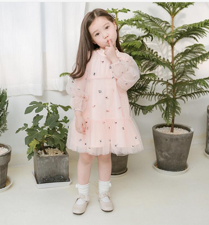 Kids Dresses 2019 Spring Princess Dresses Tulle Embroidery Children Long Sleeve Dress Fashion Sweet Kids Costume Girls Clothing