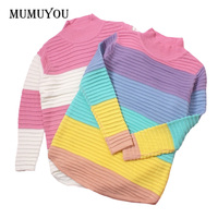 Women Lolita Girls Sweet Jumper Sweater Turtleneck Rainbow Color Striped Pink Loose Knitted Pullover Top 200