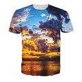 T-shirt Hombres Atardecer Nebulosa Camiseta 3d Colorido Imprimir Casual Top Tee Fitness Moda Corto O Cuello de la Ropa de Los Hombres de Poliéster 5XL