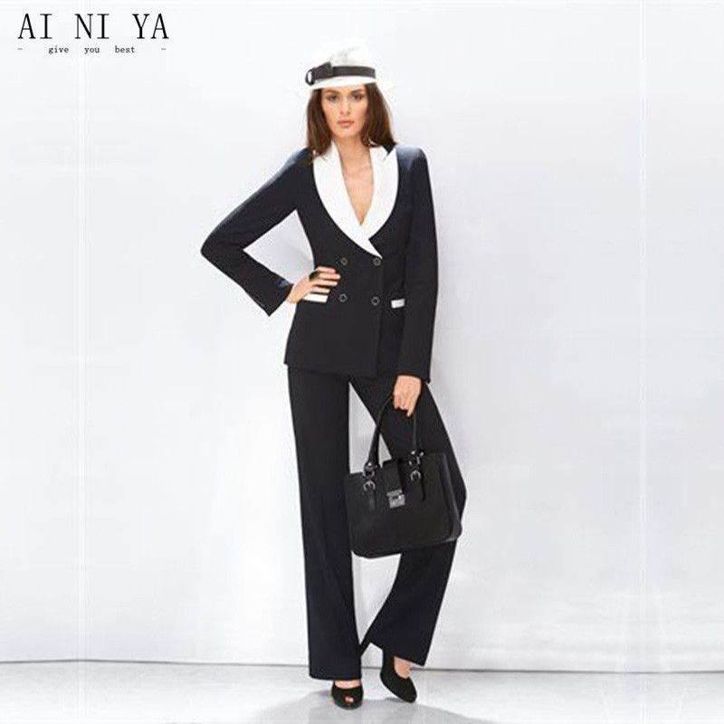Jacket+Pants New Womens Business Suits White Lapel Black Female Office Uniform Double Breasted Ladies Winter Formal Trouser Suit