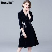 Banulin 2018 High Quality Winter Velvet Dress Autumn Women OL Office Midi Dresses Runway Elegant Embroidery Vintage Vestidos