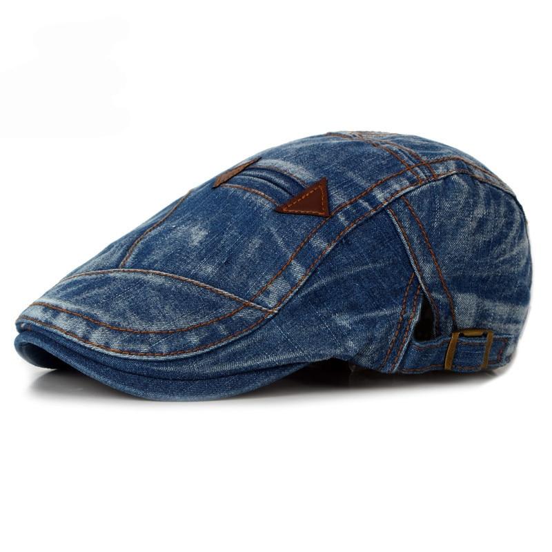 eea1876f HT1195 Fashion Spring Summer Jeans Beret Hats for Men Women Quality Casual  Unisex Denim Beret Cap Fitted Sun Cabbie Ivy Flat Cap