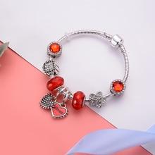 цена на Original Silver Plated Crystal Bracelet With Murano Glass Beads Charm Bracelet Bangle for Women DIY 925 Jewelry