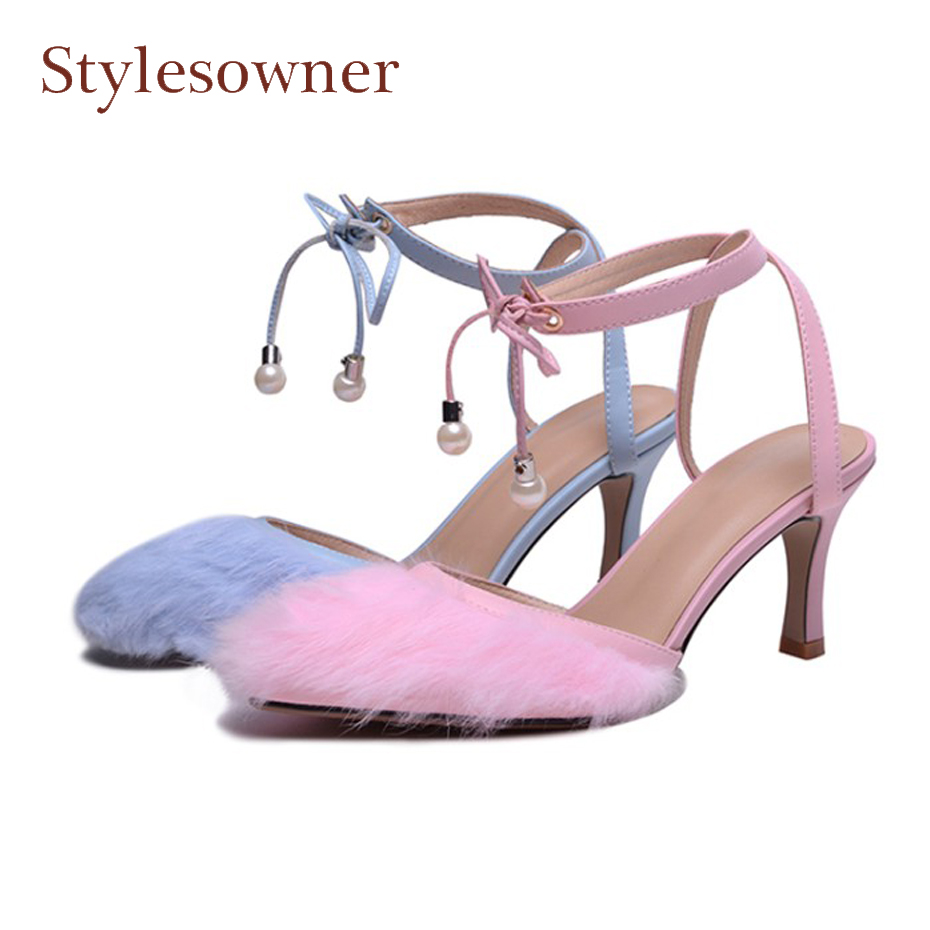 Stylesowner fashion fur mix leather ankle strap women pumps pointed toe thin high heel ladies party wedding shoes spring summer new 2017 spring summer women shoes pointed toe high quality brand fashion womens flats ladies plus size 41 sweet flock t179