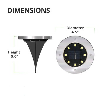 12Pack Solar Path Lights 8 LED Solar Power Buried Light Ground Lamp Outdoor Path Way Garden Decking Underground Lamps 1