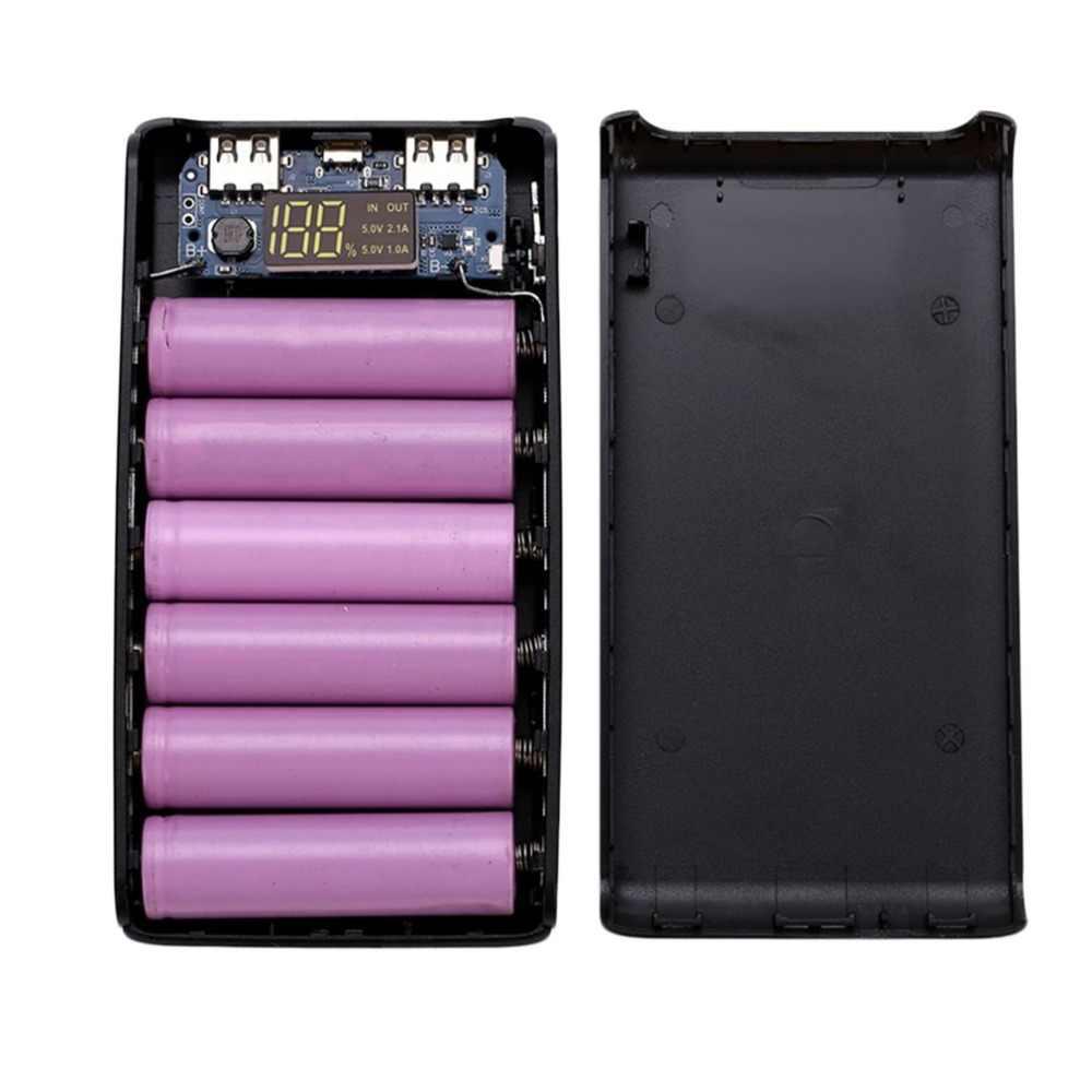 5 V 2A شاشة رقمية LCD عرض بطاريات للتخزين و شواحن حالة وحدة كيت DIY مدعوم من 6 × 18650 باور بنك لشحن البطاريات حالة