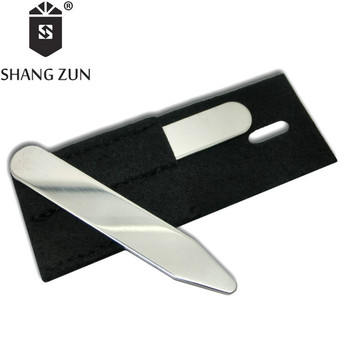 SHANG ZUN 2 PCS Stainless Steel  Collar Bones Stiffeners Stays For Formal Shirts Collar Stays Hot Sale shanh zun personalized customize engraved stainless steel metal collar bones shirt tabs stiffeners inserts golden gift for men