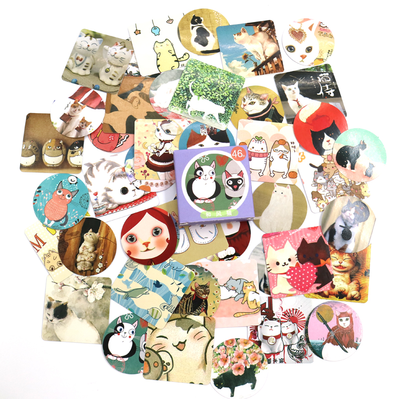 Купить с кэшбэком 46 PCS/box New Cute Colourful cat Paper Lable Stickers Crafts And Scrapbooking Decorative Lifelog Sticker DIY Lovely Stationery