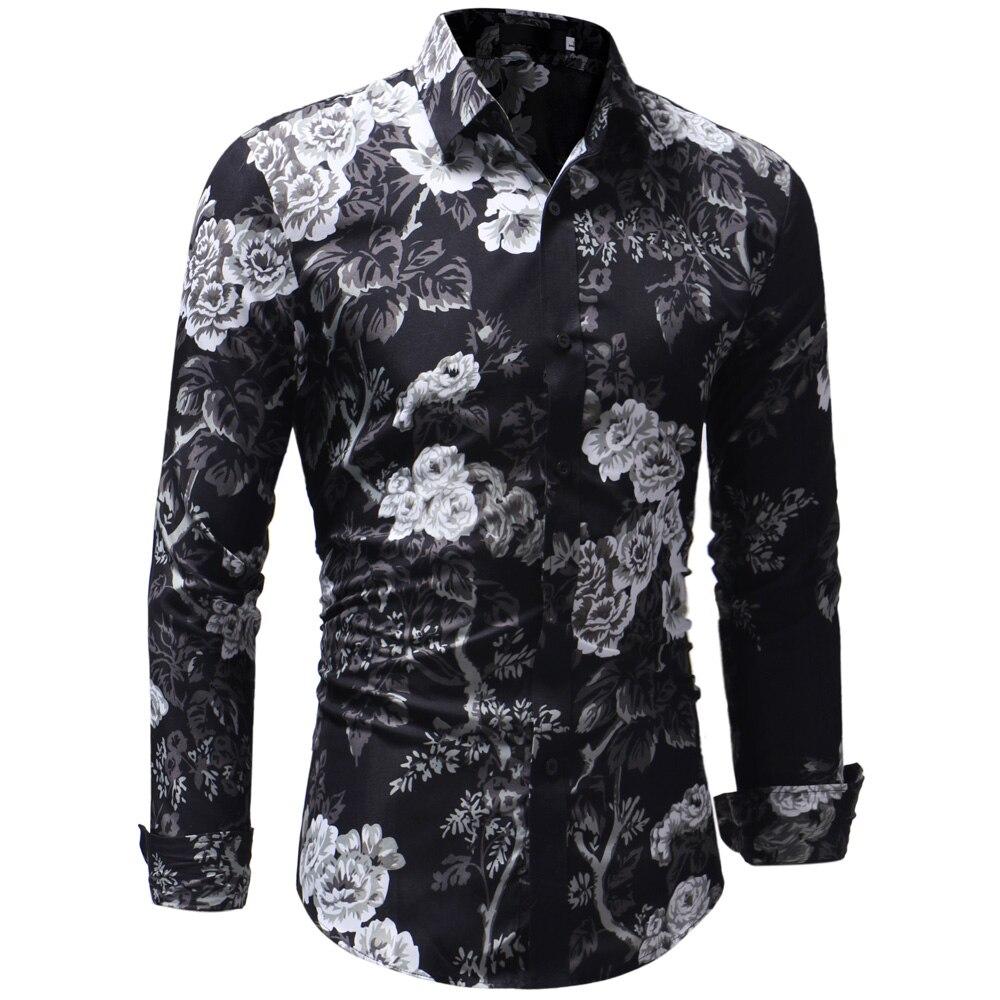 9d3c2204 2018 Retro Floral Printed Man Casual Shirts Fashion Classic Men Dress Shirt  Breathable Men'S Long Sleeve Brand Clothing XXXL | My Shop Name