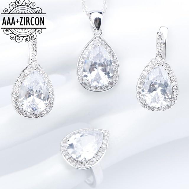 2e0d62aad193 Blanco ZIRCON plata 925 Juegos de joyería para novia para las mujeres  collar pendiente Pendientes de