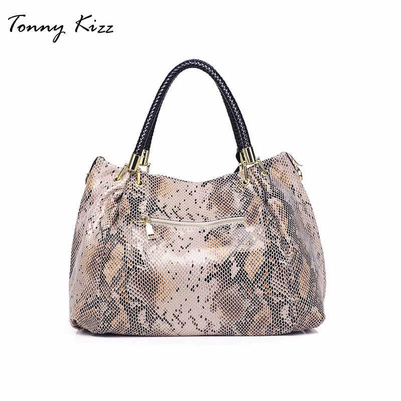 Tonny Kizz классическая сумка женская в ручках с короткими ремнями,сумки женские с узором змеи из высококачественой кожи,сумка для женщин на плечо большой ёмкости